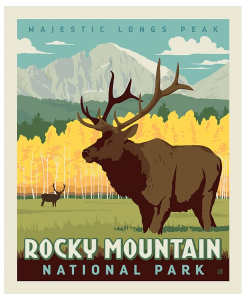 Riley Blake Rocky Mtn Nat'l Park panel, showing Long's Peak in the background with yellow aspen trees in front of it, and a big elk in the foreground.
